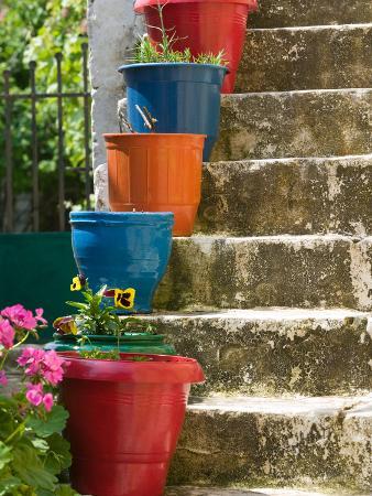 Staircase with Flower Planters, Fiskardo, Kefalonia, Ionian Islands, Greece