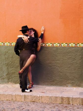 Tango Dancers in Streets of San Miguel De Allende, Mexico