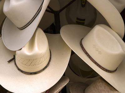 Rack with Assortment of Stylish Mexican Hats, Puerto Vallarta, Mexico