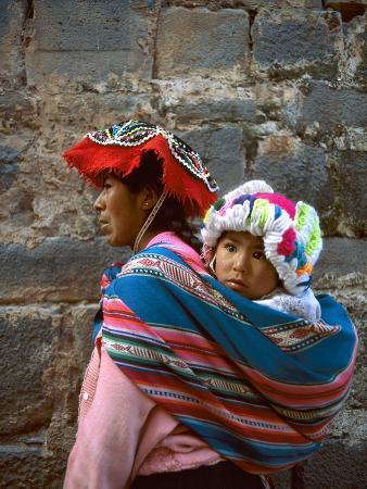 Mother Carries Her Child in Sling, Cusco, Peru