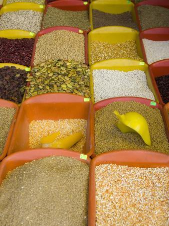 Corn and Grains Displayed in Market, Cuzco, Peru