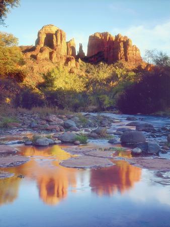 Cathedral Rock Reflecting on Oak Creek, Sedona, Arizona, USA