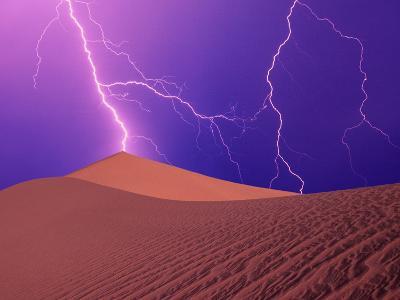 Lightning Bolts Striking Sand Dunes, Death Valley National Park, California, USA