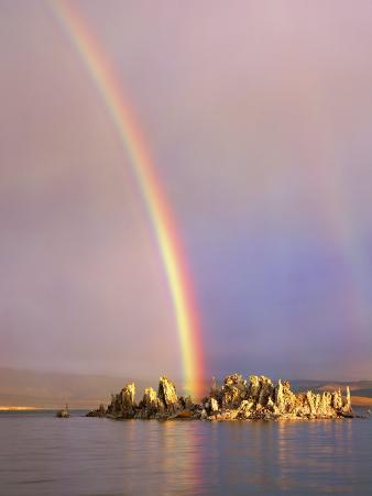 Rainbow Over Tufa Formations on Mono Lake, Sierra Nevada Mountains, California, USA