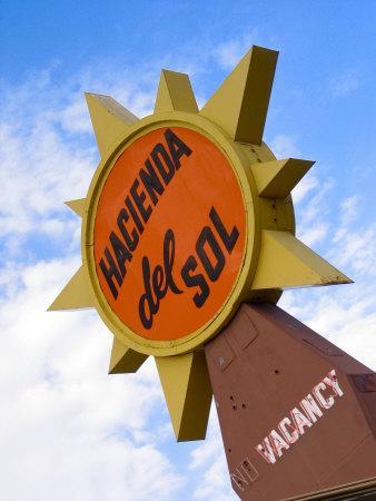 Hacienda Del Sol Motel Sign, Borrego Springs, California, USA