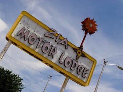 Zia Motor Lodge Sign, New Mexico, USA