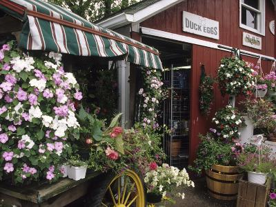 Farm Stand in Red Barn with Flowers, Long Island, New York, USA