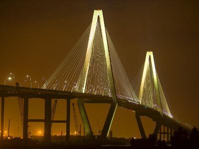 Arthur Revenel Bridge at Night, Charleston, South Carolina, USA