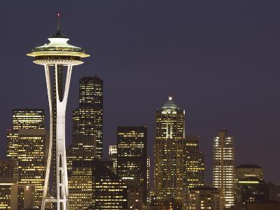 The Space Needle and Skyline at Night, Seattle, Washington, USA