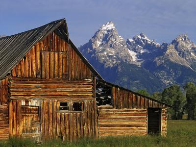 Weathered Wooden Barn Along Mormon Row with the Grand Tetons in Distance, Grand Teton National Park