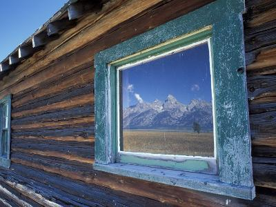 Window Reflection of the Mountains at Grand Teton National Park, Wyoming, USA