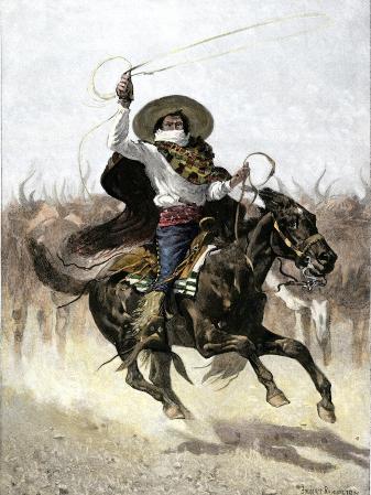 California Vaquero Galloping to Lasso a Steer, c.1800