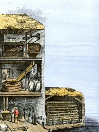 Cutaway View of a Water-Powered Mill for Grinding Grain Into Flour
