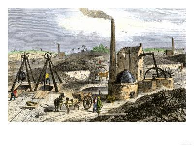 Whimsey Engine Drawing Coal in the Staffordshire Mines, England, c.1850
