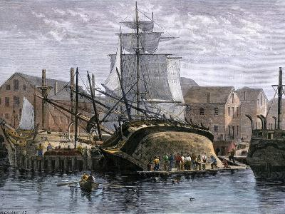 Old Whaling Ship Hove Down for Repairs, New Bedford, Massachusetts, c.1800