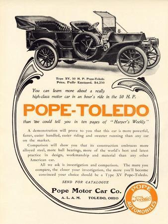 Ad for a Pope-Toledo Automobile, c.1907