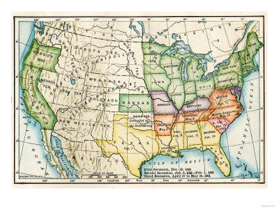 Us Map In 1861.U S Map Showing Seceeding States By Date American Civil War C