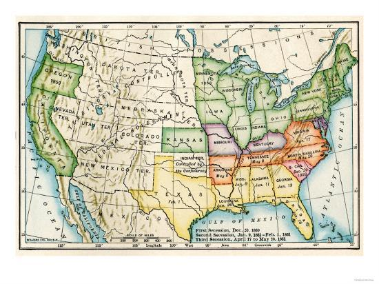 Map Of Us 1861.U S Map Showing Seceeding States By Date American Civil War C