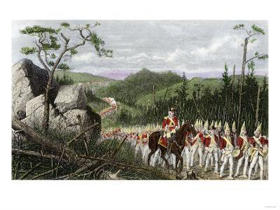 British General Braddock Marching to Fort Duquesne in the French and Indian War, c.1755