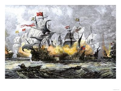 English Warship, Vanguard, Attacking the Spanish Armada, c.1588