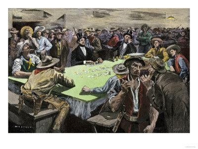 California Gold Rush Miners in a Gambling Saloon Playing Faro