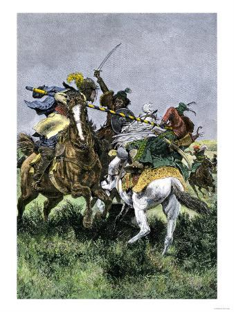 Skirmish Between Russian and Swedish Cavalry at the Battle of Poltava, c.1709