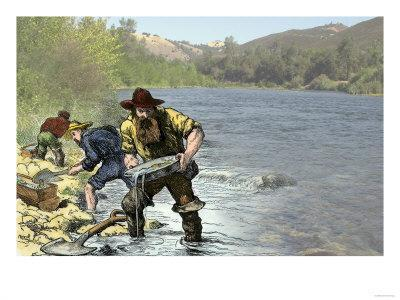 Prospector Panning for Gold Near Sutter's Mill in the American River, Coloma, California