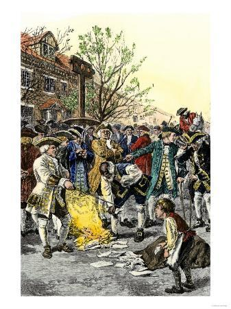 Stamp Act Protestors Burning Stamps in New York City Before the American Revolution