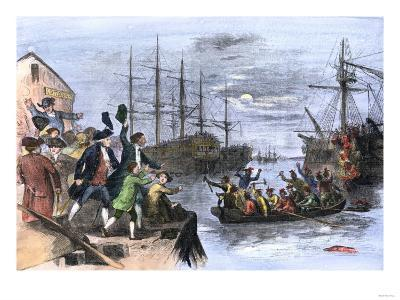 Colonials Destroy British Cargo of Tea in Boston Harbor, 1773, Known as the Boston Tea Party