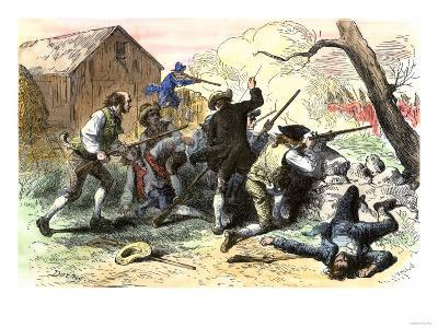 Minutemen at the Battle of Lexington, Starting the American Revolutionary War, c.1775