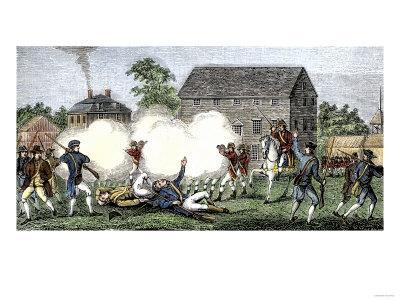 British Troops Firing on Americans at Lexington, First Battle of American Revolution, c.1775