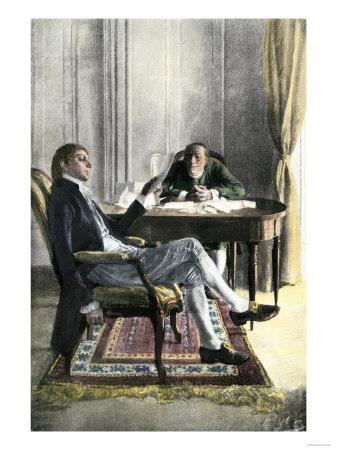 Benjamin Franklin and Richard Oswald in Paris Discussing the Peace Treaty
