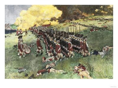British Army Marching in Formation Up Breed's Hill in the Battle of Bunker Hill, c.1775