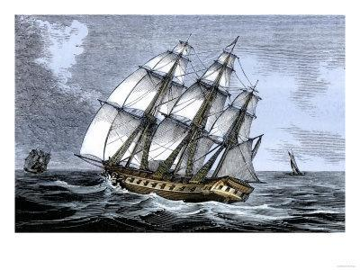 American Frigate Alliance in 1778, Which Carried Lafayette on Two Occasions