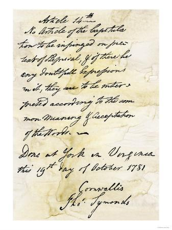 Capitulation Document from Lord Cornwallis to General Washington at Yorktown, c.1781