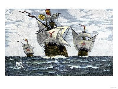 Three Ships of Columbus Approaching the New World, c.1492