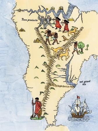Map of South America, from Sebastian Cabot's Map of the World, c.1544