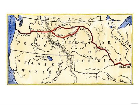 photo about Lewis and Clark Printable Map called Map of the Lewis and Clark Path throughout Louisiana Territory, c.1804-1806
