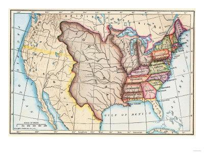 Map Of The Us In 1803 Showing The Louisiana Purchase Giclee Print - Map-of-us-1803