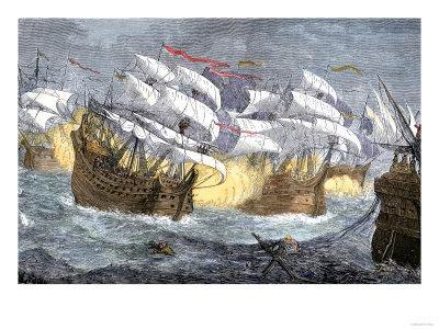 Seizure of Spanish Treasure Ships by the English Fleet of Sir Francis Drake