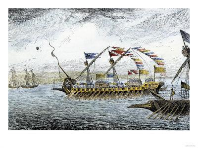 Marco Polo Leading the Venetian Ships at Korcula in the Adriatic Sea