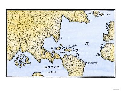 World Map after the Discoveries of Columbus and Balboa