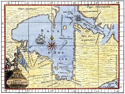 Map of Hudson's Bay, Canada, Showing Hudson's Strait, c.1722