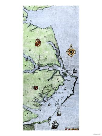 John White's Map of the Virginia and Carolina Coast Where Roanoke Colony Was Located, c.1500