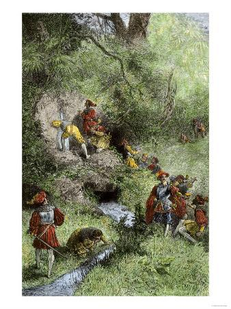Juan Ponce de Leon's Expedition Searching for the Fountain of Youth in Florida, c.1500