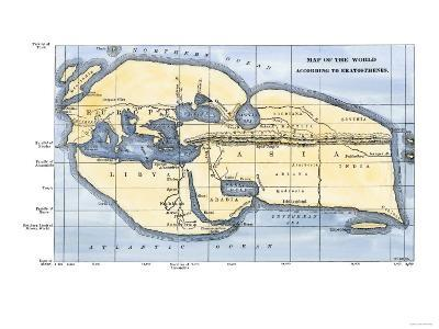 Map of the World According to Ancient Greek Geographer Eratosthenes