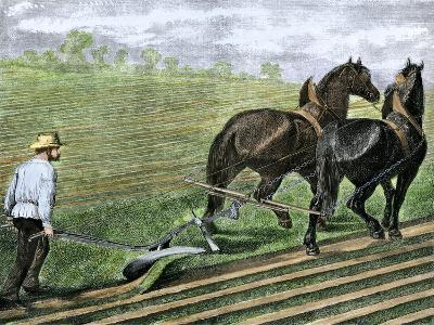 Farmer Plowing Sod with a Team of Horses, c.1800