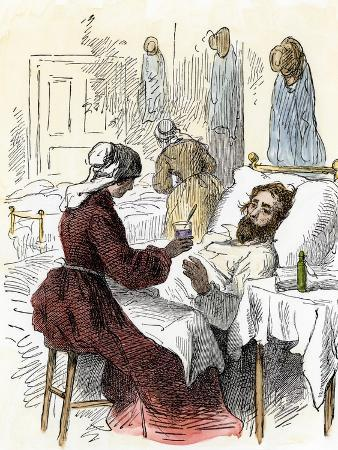 Nurse Treating a Wounded Soldier in a Civil War Hospital