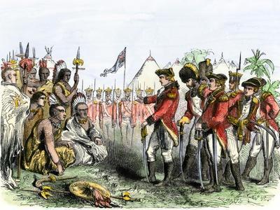 British General Burgoyne Addressing Native Americans to Secure an Alliance