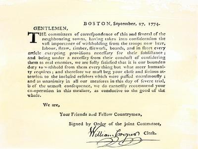 Letter from Boston's Committee of Correspondence Urging Supplies Be Withheld from British, c.1774
